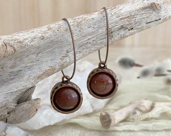 Red River Jasper earrings | natural copper stone minimal jewelry