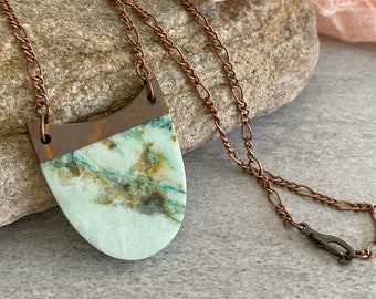 Chrysocolla and Tiger Eye necklace | natural earth stone jewelry