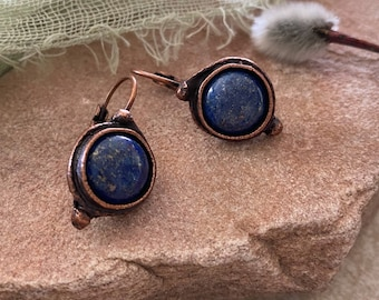 Lapis Lazuli Earrings | blue stone jewelry in copper lever back bezels