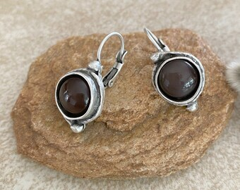Chocolate Moonstone Earrings | natural stone jewelry in antique silver bezel sets