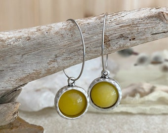 Yellow Crystal Earrings | minimal quartz jewelry in antique silver bezel sets