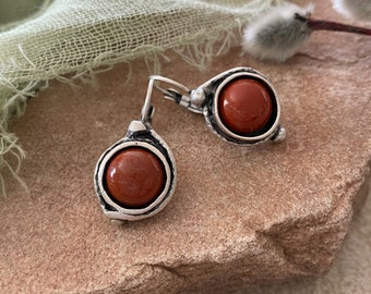 River Jasper Stone earrings | minimal red jewelry in antique silver bezel sets