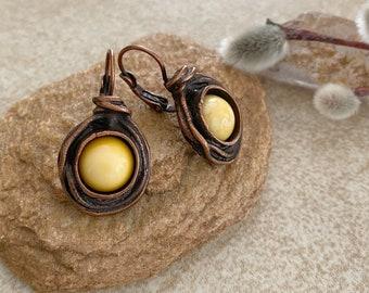 Butterscotch Amber Earrings | stone jewelry in antique copper bezel sets