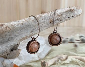 Sunstone Earrings | natural copper stone minimal jewelry
