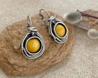 Butterscotch Amber Earrings | stone jewelry in silver bezel sets