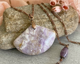 Purple Mexican Opal necklace with lepidolite stone bead