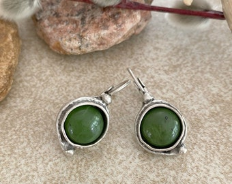 Canadian Jade Earrings | natural stone jewelry in antique silver bezel sets