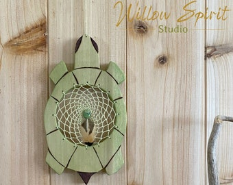 Wood Turtle Dream catcher | pale green with serpentine stone
