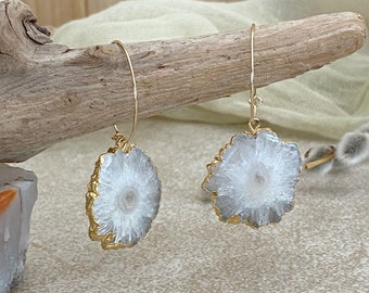 Snowflake Stalactite Earrings | natural raw solar quartz in gold jewelry
