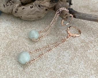 Aquamarine Drop Earrings in rose gold AAA genuine stone beads