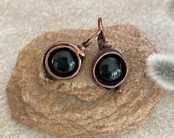 Black Obsidian Earrings | earth stone jewelry in copper lever back bezels