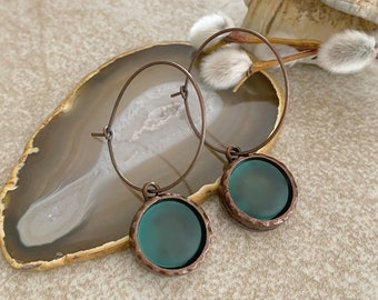 Cultured Mist Sea glass earrings in antique copper bezel sets