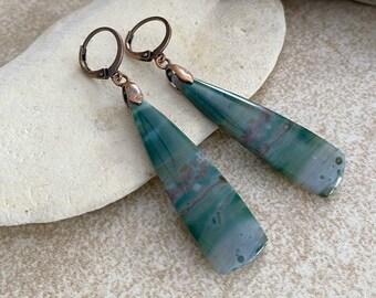 Green Jasper Earrings | natural earth stone jewelry