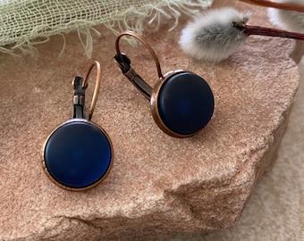 Cultured Indigo Sea glass earrings in antique copper bezel sets