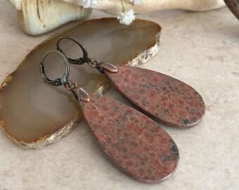 Leopard Skin Rhyolite earrings | natural earth stone jewelry