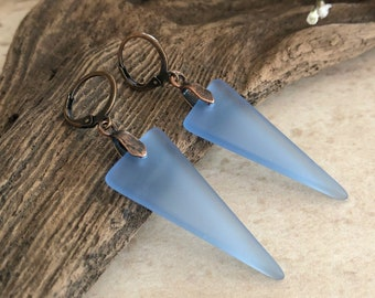 Blue Sea Glass earrings | simple cultured triangle jewelry