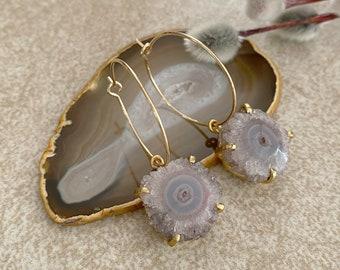 Stalactite Crystal Earrings   raw geode solar quartz jewelry