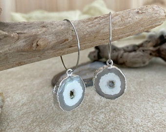 Geode Slice Earrings | natural raw agate in silver jewelry