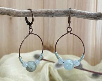 Aquamarine in Copper hoop earrings | natural aqua earth stone jewelry