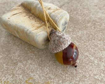 Acorn ornament with Mookaite Jasper | oak tree lovers gift