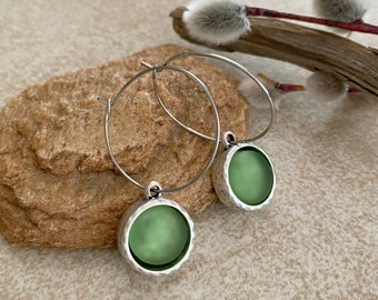 Green Cultured Sea glass earrings in antique silver bezel sets