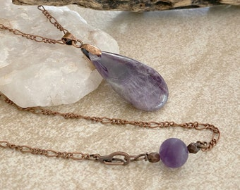 Purple Amethyst Necklace | natural earth stone jewelry