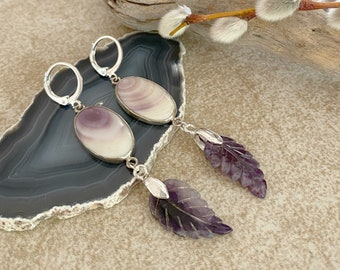 Wampum Amethyst Earrings | natural purple earth stone jewelry