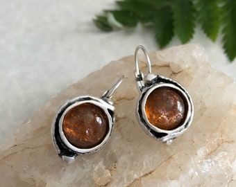 Sunstone Earrings | stone jewelry in silver bezel sets