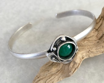 Green Jade Cuff Bracelet in brushed silver over brass