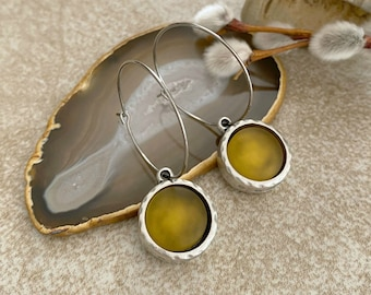 Cultured Golden Sea glass earrings in antique silver bezel sets