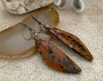 Leopard Spot Stone earrings | natural ancient petrified wood jewelry