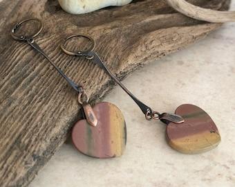 Jasper Heart Earrings | natural earth stone jewelry