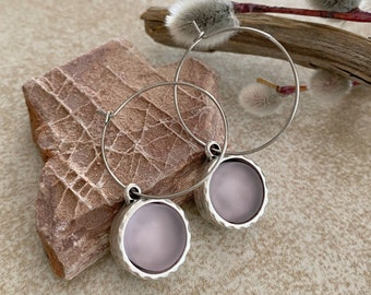 Cultured Lilac Sea glass earrings in antique silver bezel sets