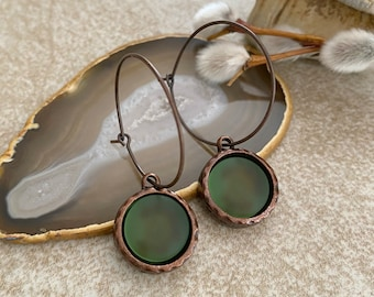 Cultured Green Sea glass earrings in antique copper bezel sets