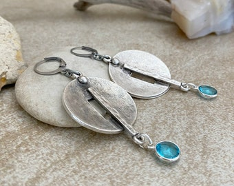 Circular Industrial Earrings | blue topaz drops | ancient contemporary jewelry