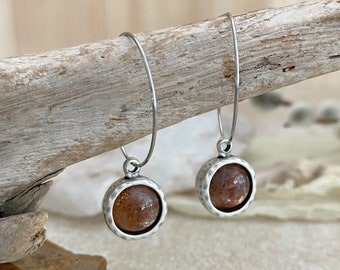 Sunstone Earrings | antique silver bezel set jewelry