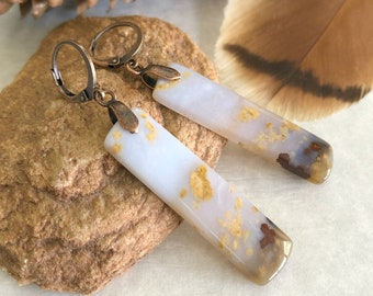 Polka Dot agate bar earrings | natural Oregon earth stone jewelry