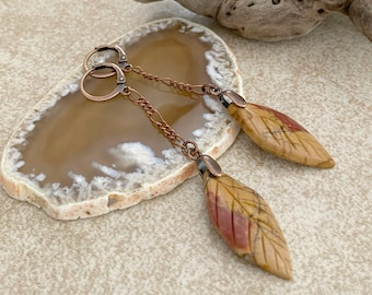 Jasper Leaf Earrings | natural red creek stone jewelry