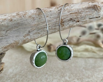Canadian Jade Earrings | green stone jewelry in antique silver bezel sets