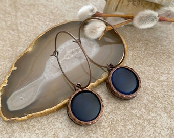 Cultured Navy Blue glass earrings in antique copper bezel sets