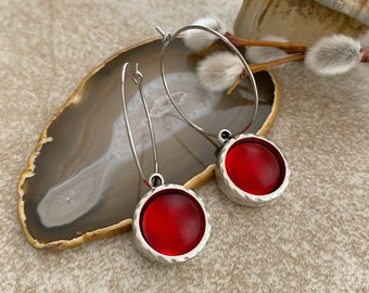 Cultured Crimson Sea glass earrings in antique silver bezel sets