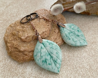 Opaque Jade Leaf earrings | natural carved earth stone jewelry