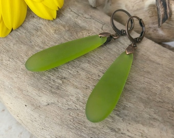 Lime Green Sea glass earrings | simple cultured teardrop glass jewelry
