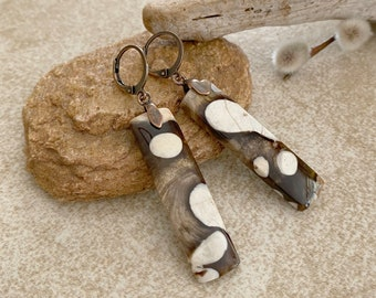 Natural Peanut Wood fossil earrings | earth stone jewelry