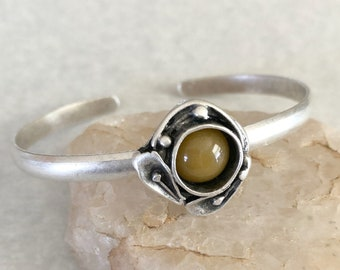 Honey Jade Cuff Bracelet in brushed silver over brass