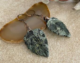 Kambaba Jasper Earrings | natural carved leaf stone jewelry