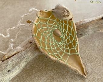 Peridot green milkweed seed pod dream catcher talisman