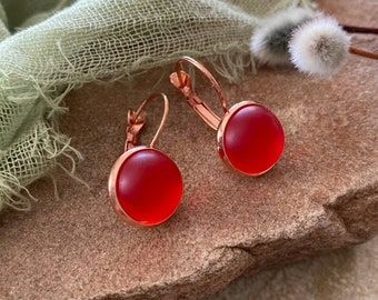 Cultured Crimson Sea glass earrings in rose gold plated bezel sets