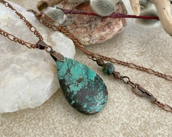 Spiderweb Turquoise Necklace | natural earth stone jewelry