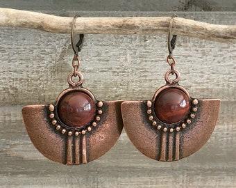 Tribal Fan Earrings   natural red river jasper stones in copper jewelry